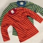 Engel-Natur Baby-Shirt mit Perlmutterknöpfen, lang-Arm, geringelt aus 70% Schurwolle (kbT) / 30% Seide
